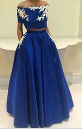 Elegant Evening Dress 2016 Strapless Off the Shoulder Appliques A-Line Two Pieces Long Dresses Party Robe De Soiree