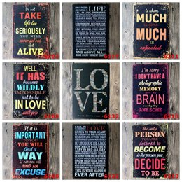 Wholesale Retro Metal Wall Decor Sign Tin Plaque Vintage Shabby Funny Fitchen Lounge Life english letters words English Poetry newest
