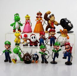 Wholesale 18pcs set New High Quality PVC Super Mario keychain Bros Luigi Action Figures youshi mario Gift retail