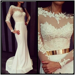 Long Sleeve Mermaid White Wedding Dresses With Gold Sash Bridal Gown With Lace Appliques Sheer vestidos de noiv