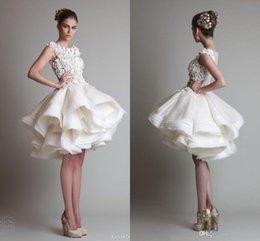 2016 Krikor Jabotian Short Wedding Dresses Lace Appliques Bateau Cap Sleeves Organza Ruffles Ball Gown Knee Length Wedding Bridal Dress