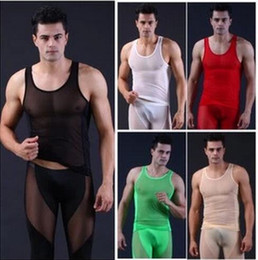 New Sexy man sheer WJ suits singlets tanktops See penis through soft Erotic undershirts Sexy lingeries underwear suit (vest +pant )