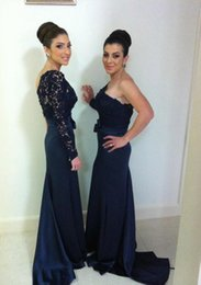 2015 Bridesmaid Dresses One Shoulder With Long Sleeves Mermaid Lace Prom Dresses Maid of Honor Bow Elegant Corset Dresses for Wedding