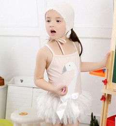 Summer new children swimwear girls beaded sequins swan tulle skirt swimwear kids suspender Siamese swimsuits beach swimsuit A6007