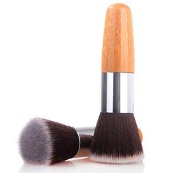 Wholesale Flat Top Buffer Foundation Powder Brush Cosmetic Makeup Basic Tool Wooden Handle