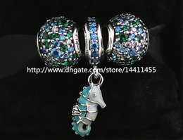 S925 Sterling Silver Charms and Murano Glass Bead Set with Charm Box Fits European Pandora Jewelry Charm Bracelets-Su003