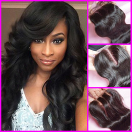 Factory outlet price Malaysian virgin human hair Body wave dark brown medium brown silk base closure G-EASY