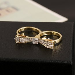 Wholesale Inlaid with Crystal Two finger Bowknot rings for Women Made of Alloy for Women Fashion