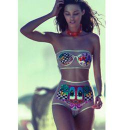 Wholesale European and American fashion casual beach Brazil Dila Meng printing mesh bikini two piece split swimsuit