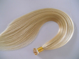 On Sale 18 20 22 24inches Natural Slavic Hair Prebonded I Tip Stick Tip INDIAN REMY Hair 1g s 100s pc #60 Platinum Blonde