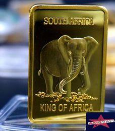 Wholesale Africa elephant Mills Gold Clad Ingot Bar animal K Gold plated souvenir Commemorative coin wholesales
