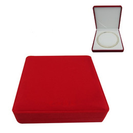 velvet jewelry box pearl necklace box gift box red outside white inside, sold per bag of 2 pcs