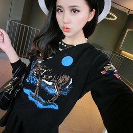 Korean version of the 2015 autumn new Korean version of wild animal print long-sleeved sequined sweater female wholesale 1222