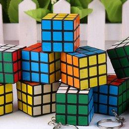 Wholesale Rubiks Cube Keychain x3x3 rubix cube Keyrings Puzzle Games Key Rings Magical Cube Toys KE005