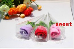 Wholesale Hot sell Special offer Rose shape towels washcloth creative wedding gift Birthday gift