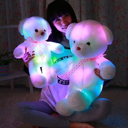 Wholesale Led Lighted Teddy Bear - Romantic Colorful Flashing LED Night Light Luminous Stuffed Plush Toys Teddy Bear Doll Lovely Gifts for Kids and Friends YZT0148
