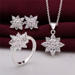 Wholesale 925 Sterling Silver Jewelry Set beautiful flower pendant necklace earrings rings with Zircon Christmas send his wife girlfriend gift
