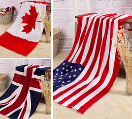 Wholesale Beach Towel British CA US UK Flag USD Active Printing Bath Towel Cotton Terry Party Towels