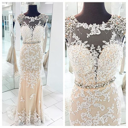 Spring 2016 Pageant Dress with White Lace Crystal Prom Dresses Evening Gown Sexy Evening Dress Vestidos De Gala Longo