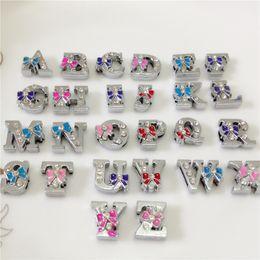 Wholesale 52PCS Lot 8MM Full Rhinestones Bowknot Slide Letters A-Z Alphabet DIY Slide Charms Fit 8MM Wristbands Bracelets Belts SL17