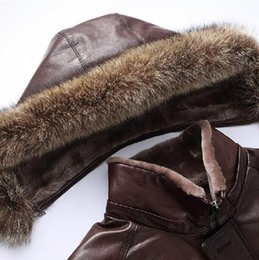 Wholesale Fall XL Long Fur Hooded Coat Raccoon Fur Collar Hat Detacheble Woolen Liner Men Sheepskin Genuine Leather Jacket