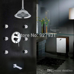 Wholesale Unique Design Single Handle Rainfall Bathtub Shower Set Faucet with Brass Massage Jets Chrome Finished