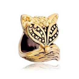 HK MYD Jewelry Black enamel Fox Animal Bead In Gold Color Plating European Charm Fit Pandora Bracelet