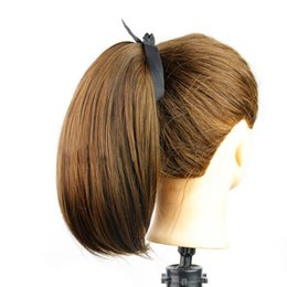 Short Straight PonyTail Horsetail Clip In Hair Extensions Pony Tail Curls Wave Horsetail Hair Piece With Straps