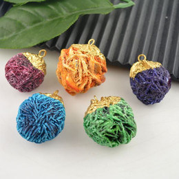Wholesale Druzy Pendants kt Gold plated Edge Desert Rose Stone in Mixed Color Jewelry Pendant