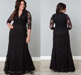 Black Full Lace Plus Size Formal Dresses V-Neck 3 4 Sleeve Mermaid Evening Gowns Floor Length Mother Of The Bride