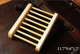 Wholesale Soap Box Dish Holder Wholesale - Big discount Natural Wooden Soap Dish Plate Tray Holder Box Case Shower Hand washing in stock