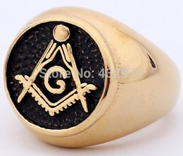Wholesale high quality unique custom design gold Masonic ring silver Masonic ring discount stainless steel ring for men