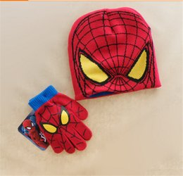 Wholesale Best Christmas gift winter Minions cotton children knit cap Gloves Despicable Me minion Spider man kids Hats Gloves boys girls years new