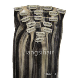 "15""-22"" 70g 7pcs Mix Color #1B 613 Clip in Hair Bundles Brazilian Indian Malaysian Peruvian Straight Virgin Remy Human Hair Extensions"