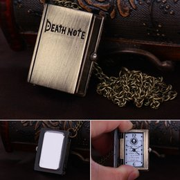 Wholesale Death Note Pocket Watch Woman Man Square Necklace Pendant Watch Clamshell Design sw228