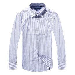 2017 new style 100% Cotton Quality Solid Shirt Men Casual big shirt Shirts striped Oxford Dress Shirt Camisa Masculina
