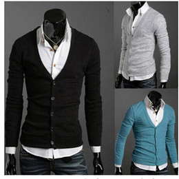 2017 manteau pull à manches Vêtements pour hommes Vêtements Veste Vêtements d'extérieur Manteaux Casual Casual Robe Bouton couleurs pour hommes à manches longues V-cou cardigan chandail manteau pull à manches offres
