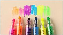 6 pcs lot syringe kawaii Highlighter pen Fluorescent Marker pen Luminescent pen Stationery Office School supplies