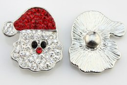 new 20pcs 18 mm rhinestone snap button jewelry red hat Christmas Santa Claus alloy bottom fit ginger snaps buttons necklace