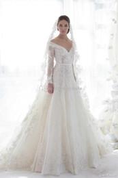 Wholesale Stylish V neck A line Floor length Lace Applique Long Sleeve Wedding Dresses Customized Sash Vintage Muslim Bridal Gowns Church Dress