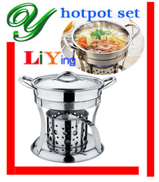 Wholesale hot pot cooker liquid stove set Chafing Dish pots heater serving stand stainless holder lid cm Buffet pan server Food Tray Warmer fondue