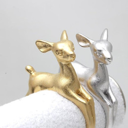 Min 1pc Adjustable Bambee ring Animal Deer Ring in Gold Jewelry Wrap Retro Ring Fashion Summer Ring For men gift 2015 JZ335