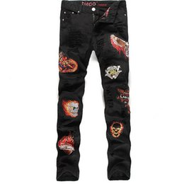 New Fashion Mens Patch Jeans 100% Cotton Brand Designer Slim Fit Black Ripped Jeans For Men Distressed Denim Pants Joggers Q1671