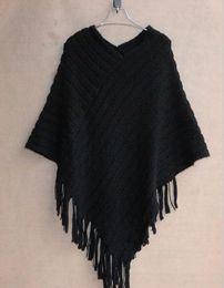 Autumn Winter Women Sweaters Fashion Plus Size Blouse Cape Geometric Shawl Cotton Sweater Loose Bat Tassel Poncho Cape Coats