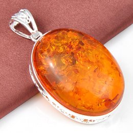Wholesale Colares Gemstone Jewelry Pendant Top Quality Luckyshine Oval Amber Gemstone Silver Pendant Trendy Party Holiday Jewelry Gift