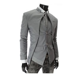 Wholesale-Autumn and winter hot sale men's double button asymmetry blazer new arrival three color multi size fashion European