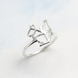 30PCS- R025 Cute Squirrel Rings Simple Paper Origami Squirrel Ring Outline Modern Minimalist Animal Rings for Ladies Women