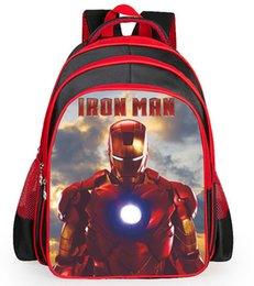 Wholesale School boys backpack Iron Man two design kids backpack ergonomic design larger volume widening S shaped straps waterproof easy clean