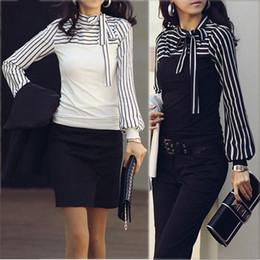 Sizes S-4XL 2015 Hot Sale Zanzea Fashion OL Women Ladies Stripe Lantern Long Sleeve Turtleneck Shirts Blouses Black White