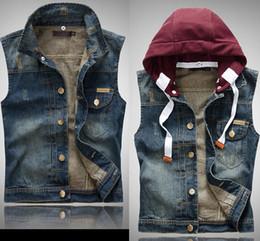 Hot! Brand jeans jacket Casual Hooded Vest Men High Quality Cotton Denim Waistcoat Men vest US Size XXS-M